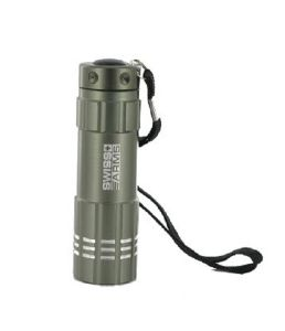 LAMPE TORCHE FLASHLIGHT 9 LED EN METAL ARGENT