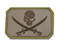 ECUSSON / PATCH RECTANGULAIRE PIRATE SKULL DESERT A SCRATCH MSM