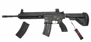 REPLIQUE FUSIL A BILLE H&K HK416D FULL METAL NOIR AEG 1 JOULE FULL AUTOMATIQUE + BAT 9.6V + CHARGEUR