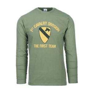 "TEE SHIRT VERT MANCHES LONGUES SERIE WWII "" 1ST CAVALRY DIVISION "" FINITION PEAU DE PECHE - FOSTEX"