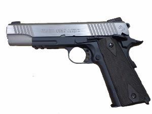 COLT 1911 RAIL GUN STAINLESS DUAL TONE CO2 BLOWBACK BICOLORE SEMI AUTO 1.1 JOULE