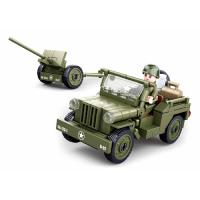 JEU DE CONSTRUCTION COMPATIBLE LEGO SLUBAN ARMY JEEP ALLIEE CANON ANTI-AERIEN MILITAIRE ARMEE M38-B0853