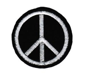 ECUSSON OU PATCH PEACE AND LOVE NOIR ET BLANC BRODE THERMO COLLANT