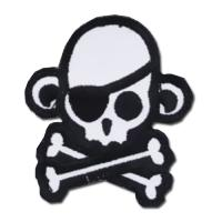 ÉCUSSON OU PATCH TÊTE DE MORT PIRATE SINGE MONKEY SWAT NOIR ET BLANC MSM