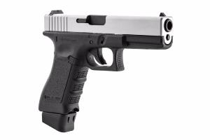 STARK ARMS S17 G17 CO2 BLOWBACK SEMI AUTO SILVER + SON CANON SUPPLEMENTAIRE METAL