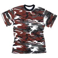TEE SHIRT CAMOUFLAGE ROUGE RED HOT COL ROND ET MANCHES COURTES FOSTEE