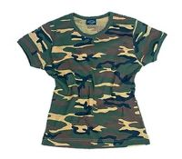 TEE SHIRT CINTRE FEMME COL ROND MANCHES COURTES CAMO WOODLAND TAILLE S