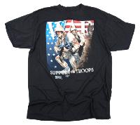 "TEE SHIRT NOIR MANCHES COURTES IMPRIME "" WAR "" "" SUPPORT OUR TROOPS"""