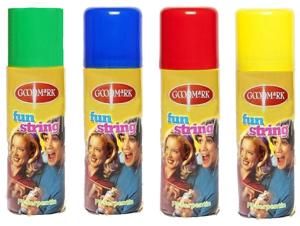 BOMBE SPRAY AEROSOL FIL SERPENTIN BLEU + ROUGE + VERT + JAUNE 83 ML