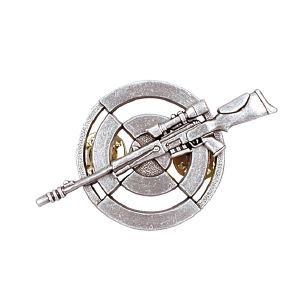 INSIGNE PIN'S TIREUR DE PRECISION COULEUR ARGENT ATTACHE CLOU LAITON