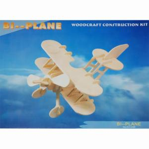 KIT CONSTRUCTION / PUZZLE 3D EN BOIS BI-PLANE VARIOUS