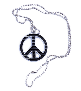 COLLIER PENDENTIF PEACE AND LOVE NOIR ET RAYE ARGENTE METAL