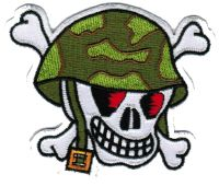 ECUSSON OU PATCH TETE DE MORT MILITAIRE BRODE THERMO COLLANT