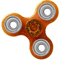 HAND SPINNER / TOUPIE A MAIN EN PLASTIQUE ET METAL TRANSPARENT UNI PAILLETTE COULEUR ORANGE