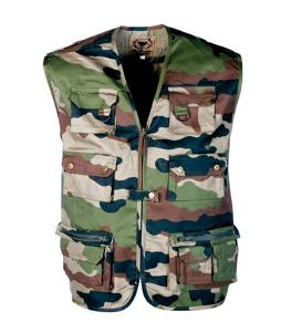 GILET VESTE REPORTER MULTIPOCHES SANS MANCHE CAMOUFLAGE WOODLAND TAILLE L