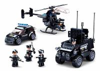 JEU DE CONSTRUCTION COMPATIBLE LEGO SLUBAN POLICE SET VEHICULES POLICE M38-B0809 FIGURINES ARTICULES