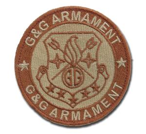 ECUSSON OU PATCH ROND G&G ARMAMENT BEIGE ET MARRON SCRATCH