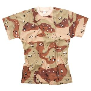 TEE SHIRT CAMOUFLAGE DESERT 6 COULEURS COL ROND ET MANCHES COURTES FOSTEE