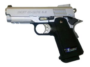 HI CAPA 3.8 BABY VERSION B CHROME ET NOIR FULL METAL GAZ BLOWBACK HOP UP RAIL 0.9 JOULE
