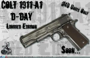 COLT M1911 A1 D-DAY EDITION CO2 FULL METAL SEMI AUTO CYBERGUN BLOWBACK LOURD 1.1 JOULE