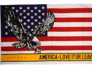 DRAPEAU USA AVEC AIGLE - AMERICA LOVE IT OR LEAV 90 X 150 CM