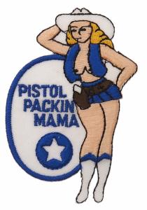 ECUSSON / PATCH BRODE PISTOL PACKIN MAMA COW-GIRL