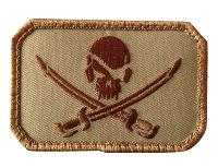 ECUSSON / PATCH RECTANGULAIRE PIRATE SKULL TAN A SCRATCH MSM