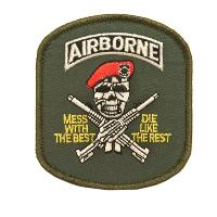 ECUSSON / PATCH BRODE AIRBORNE SKULL AVEC BERET THERMO COLLANT AIRSOFT