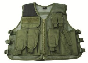 GILET VESTE TACTIQUE RECON VERT OLIVE MULTI POCHES AVEC HOLSTER STRIKE SYSTEMS