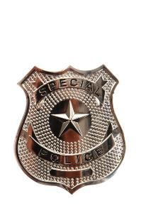 BADGE / INSIGNE ETOILE SPECIAL POLICE SILVER ARGENT AVEC ATTACHE EPINGLE AIRSOFT
