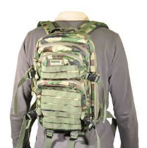 SAC A DOS COMPACT 1 JOUR CAMO WOODLAND EXTENSIBLE ET MULTI POCHES