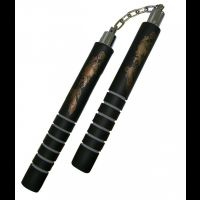 NUNCHAKU MOUSSE NOIR ORNE D UN DRAGON D OR