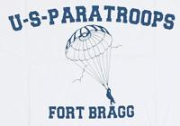 TEE SHIRT BLANC MANCHES COURTES IMPRIME US PARATROOPS FORT BRAGG