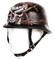 "CASQUE DE MOTARD ALLEMAND "" BARBED WIRE "" CRANE AVEC FAUX TRANSPERCE DE FIL DE FER BARBELE EN RELIEF"