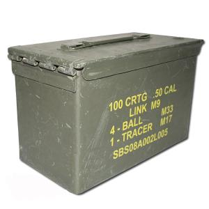 CAISSE A MUNITIONS CALIBRE 50 DE L'US ARMY EN METAL VERT ( MATERIEL OCCASION )