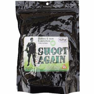 SACHET DE 1 KG DE BILLES BIODEGRADABLES BLANCHES 0.23 G SHOOT AGAIN SOIT ENV 4300 BILLES