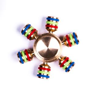 HAND SPINNER / TOUPIE A MAIN EN METAL 6 BRANCHES LOURD + SACOCHE