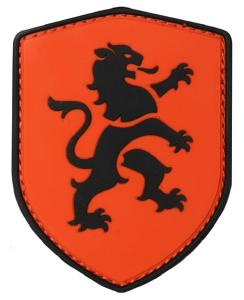 PATCH / ECUSSON 3D PVC SCRATCH BLASON ORANGE AVEC LION NOIR