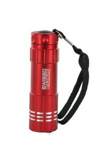 LAMPE TORCHE FLASHLIGHT 9 LED EN METAL ROUGE