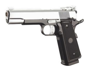PISTOLET 1911 BICOLORE GAZ BLOWBACK GBB HOP UP FULL METAL 0.8 JOULE