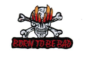 ECUSSON OU PATCH TETE DE MORT EN FLAMMES BORN TO BE BAD BRODE THERMO COLLANT