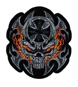 ECUSSON / PATCH GEANT TETE DE MORT NOIR ET GRIS AVEC FLAMMES JAUNE ET ORANGE THERMO COLLANT
