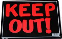 PLAQUE DECORATIVE EN METAL 35.8 X 25.5 CM KEEP OUT